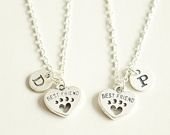 2 Best friend Necklace Set, Best Friends Forever Necklace, 2 Friendship Necklace set, 2  Best Friends gift,dog paws Necklace,2 bff necklace