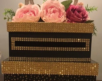 100th gold and black box with flowers