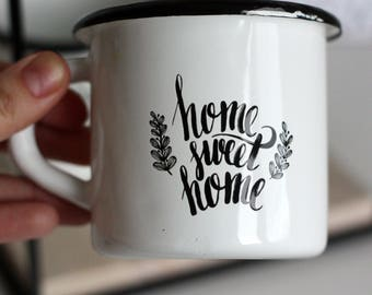 ENAMEL MUG CUP Metal White Home sweet home Czechoslovakia Original Design Retro Vintage Village Hand Made Mother  gift Tea Coffee 250 ml