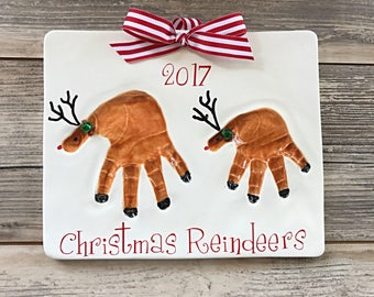 Reindeer Handprint Art - Personalized Sister Art - Personalized Sibling Art - Brother Art - Kids Handprint Keepsake Kit - Handprint Mold