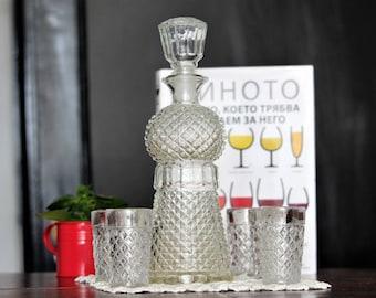 Liquor Bottle with 6 Glasses - Liquor Decanter with 6 Glasses -  Barware Set - Vintage Glass Decanter - Vintage Decanter - Gift For Men