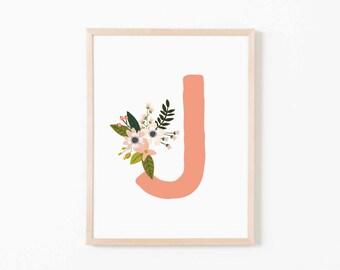 Nursery Art Coral Bloom J. Nursery Wall Art. Nursery Prints. Nursery Decor. Girl Wall Art. Personalized Wall Art. Monogram Art. Floral Art.