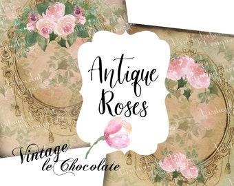 Watercolor Rose Paper, Digital Paper, Vintage Rose Paper, Victorian Roses,  Framed Print, 8 x 10 Digital Paper. No. 518