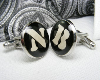 Single Initial Monogram Cufflinks - Single Letter cufflinks - Monogrammed - Personalized Cufflinks - Custom Cufflinks - Mens Accessories