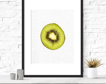 Kiwi art, Kitchen art, Kitchen wall art, Fruit art, Printable wall decor, Fruit photography, Kitchen photography, Fruit kitchen decor