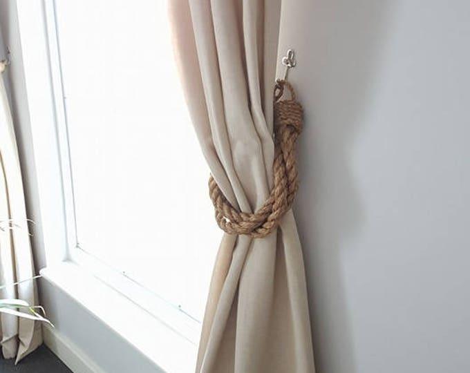 Thick Twist 3 Manila Rope Curtain Tiebacks/ industrial/ Boho/ Chunky Tie-backs/ Nautical style/ unique curtain / Hold-backs/ shabby chic