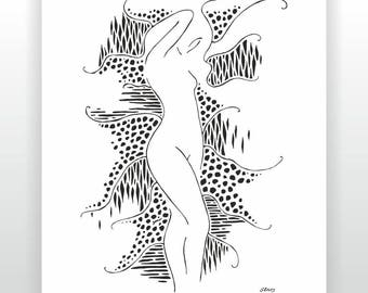 Standing nude art print. Black and white ink drawing. Female nude print. Woman illustration. Art for modern bedroom.