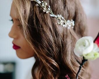 MOON delicate quartz moonstone bohemian bridal vine, boho wedding headpiece