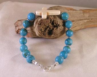 Cross Bracelet, Turquoise Bracelet, Howlite Bracelet, Stone Bead Bracelet, Bead Bracelet Stone, Bracelet Turquoise, Stacking Bracelet