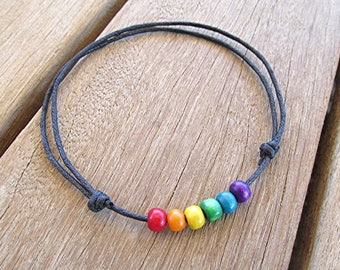 Wooden bead anklet wooden bead ankle bracelet adjustable anklet LGBT gay pride ankle bracelet rainbow ankle bracelet LGBT gay gift..