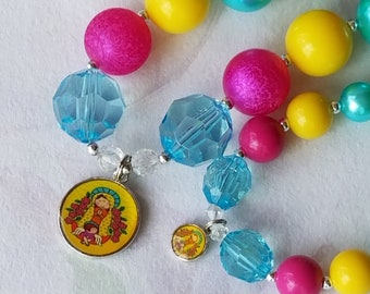 Doll and Me Jewelry Virgencita Chunky Bubblegum Bead Necklace American Doll Mother Mary Pendant 18 in Doll Necklace Girls Necklace