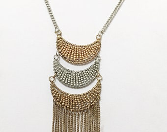 Silver and Gold Chain Cascade Long Necklace / Gold Chain Beaded Long Necklace.
