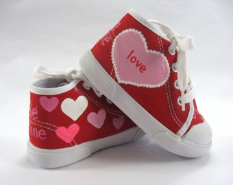 Valentine Heart Shoes, Red Hi Top Sneakers Hand Painted for Baby or Toddler's Pink and Red Valentine's Day Outfit