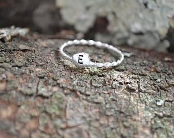 Sterling Silver Ring, Monogram Ring, Initial Ring, Initial Jewelry, Silver Ring, Monogrammed Gifts, Anniversary, Custom Ring, Stack Ring,