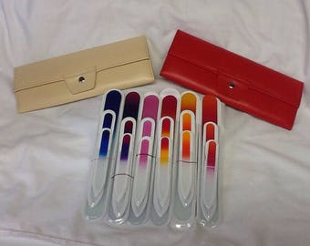 3 piece Czech Crystal Glass Nail File Set in Stylish Leather Case - choice of colors