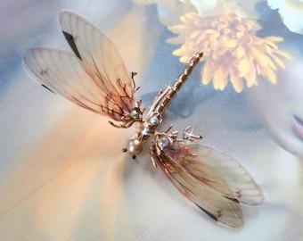 "WEDDING hair clip""fairy"" vintage Dragonfly shaped for birthday """
