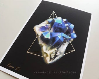 Aura Blue Crystal in Gold Triangle on Black Background Colored Pencil Art Print by Headspace Illustrations
