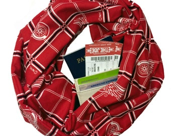 LGRW | Red Wings Plaid Flannel Infinity Scarf With Hidden Pocket