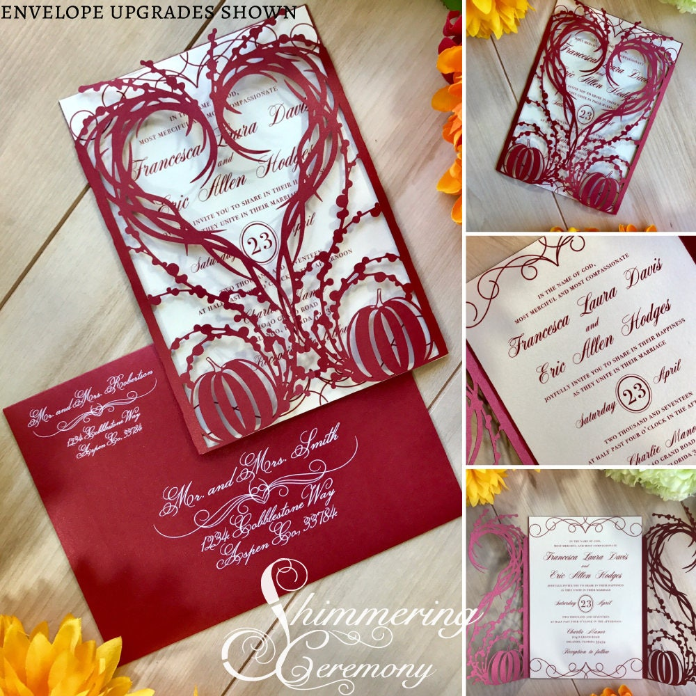 Pumpkin Heart wedding invitation gatefold laser cut autumn