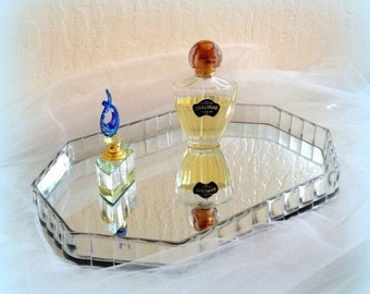 60s Lucite Vanity Mirror Tray - Octagonal Shape - For Vanity or Centerpiece