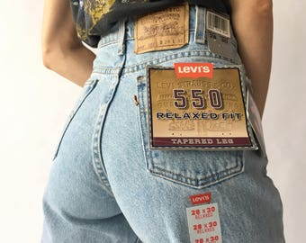 80s 90s 29x30 Levi's 550 High Rise Tapered Jeans 100% Cotton Made In USA Vintage 1980s 1990s Deadstock NOS