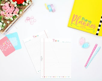 Notes inserts, Printable Planner Inserts, A5 Large planner Insert