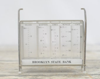 Vintage STACK-COIN BANK Brooklyn State Bank Advertising Promotional Item