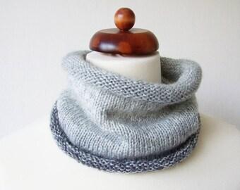 knit grey ombre cowl, sparkle scarf, grey neckwarmer