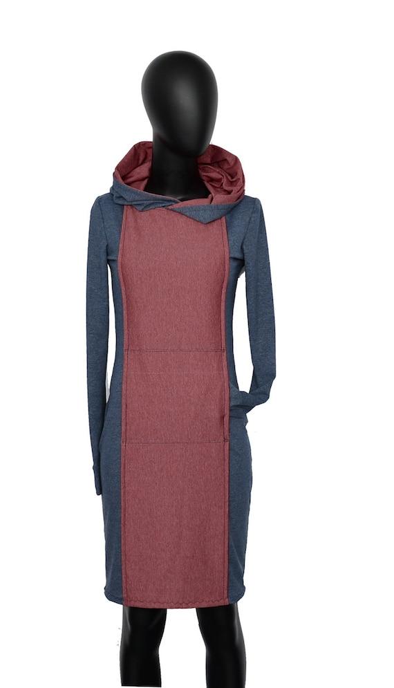 women blue hood Iza hoodie Red Fabian Dress AN5 Red Blue hood dress red women xAxtSvw