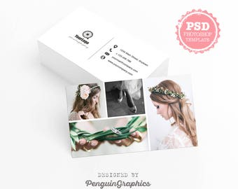 Business card template. Photography business card. Marketing & stationary card. Editable PSD photoshop files for instant download. BCT003