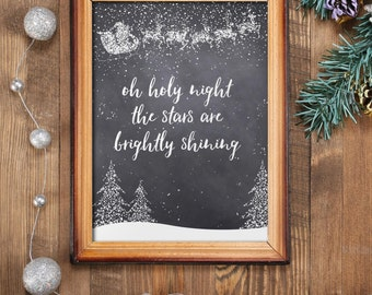 Christmas printable decoration, oh Holy night print, Christmas print, instant download, Christmas wall art, holiday decor, Xmas BD-499