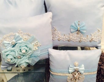 French blue pillows set