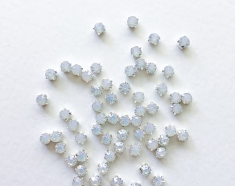 50 x 5mm Opal Sew On Rhinestone in Silver White Opal Montees White Opal Chatons