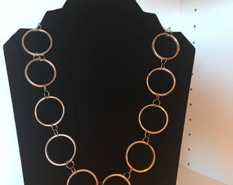 Necklace Silver Large Connected Circles