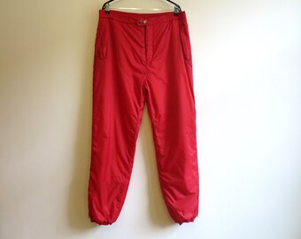 Vintage Hot Red Womens Ski Pants Red Ski Suit Pants Snowboard High Waist Sporty Trousers Warm Pants 2 Extra Large Size