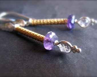 Mixed Metal Dangle Earrings with Amethyst, Quartz, Silver, and Gold - french ear wires