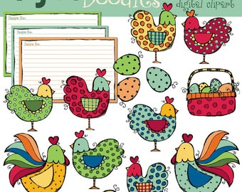 KPM Hens and roosters digital clip art COMBO