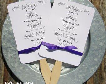 Wedding Favor Fans - Wedding Hand Fans - Wedding Favor Fans - To Have and To Hold - Paper Wedding Fans - Assembled Wedding Fans - Hand Fans