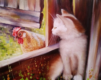 Kitten and chicken Oil Painting Cat