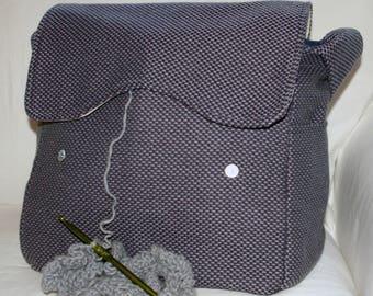 Purple Upholstery, Pro-Knitting Bag, Snag-free, Yarn Storage, knitting supplies, crochet tote, tote, vacation bag, travel bag, bag