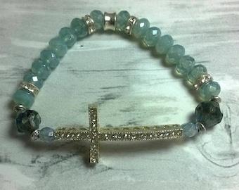 Bracelet glass beads Rhinestones