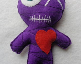 Purple Mummy Voodoo Doll - Valentine's Day, Wicca, Love, Witchcraft, Occult, Esoteric, Galentines, Wedding, Mystic, Gothic, Monster, Spell