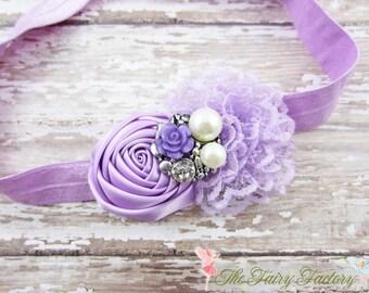 Lavender Flower Headband, Satin & Lace Flower Headband, Newborn Headband, Baby Hair Clip, Infant Toddler Child, Baby Girls Headband