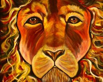 Lion Leo, Zodiac sign Leo, impressionistic painting on canvas