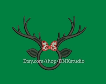 Reindeer Bow Monogram Frame Embroidery Design - 6 Sizes - INSTANT DOWNLOAD