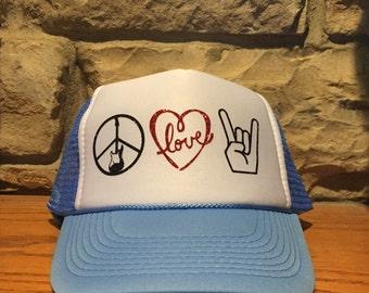 Peace Love Rock trucker hat (blue)