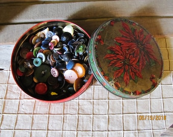 Estate Find~Vintage Poinsettia Tin Can  Full of 1 Pound of Unsearched Dark Buttons Celluloid Bakelite Fabric  Plastic