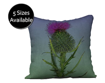 Thistle Floral Pillow, Accent Pillow Cover, Square Oblong Rectangular Lumbar, Velveteen or Canvas Case, Green Purple Blue, Decorative Throw