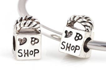 Love Shopping Charm - Shop Charm - Love to Shop Charm - Shopping Bag Charm - Fits all Charm Bracelets - Christmas Gifts for Her