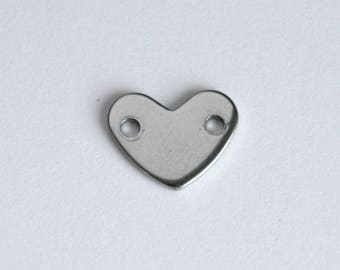 Heart connector stamping blank, stainless steel, flat, 2 holes, 11x14mm, qty 4+, for bracelets, custom hand stamped jewelry  (WD7-1h)
